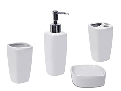 Vetrineinrete® Set 4 pezzi accessori bagno in ceramica dispenser ...