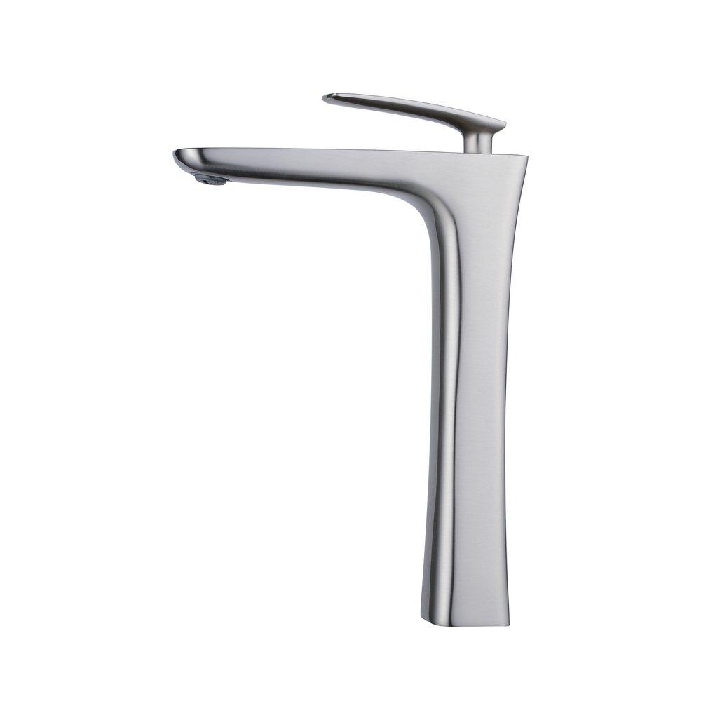 Beelee bathroom vessel sink faucet,single handle,one hole,Brushed Nickel