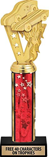 Star Column Trophy - Crown Awards Pinewood Derby Trophies - 11 Inch Customized Pinewood Derby Red Stars Column Trophies Prime