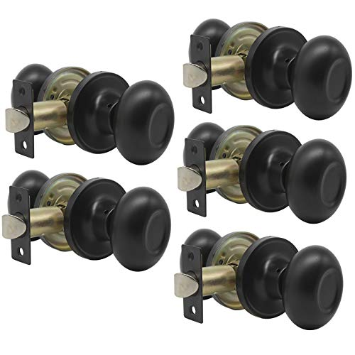 (Probrico Passage Egg Style Door Knobs Handle Non-Locking Lockset for Hall or Closet Interior Doors Hardware in Black Finish 5Pack)