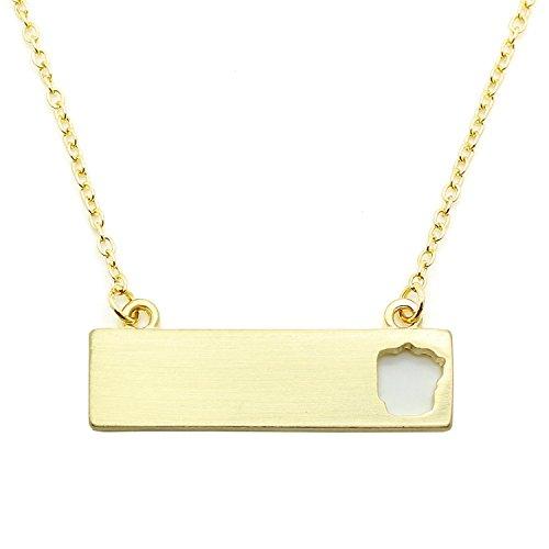 Rectangular Shaped Pendant (Patriotic United States: State-Shaped Rectangular Cut-Out Pendant Necklace: Arkansas Gold-Tone)