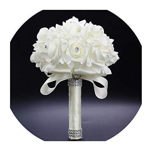 White PE Rose Bridesmaid Wedding Foam Flowers Rose Bridal Bouquet Ribbon Fake Wedding Bouquet de Noiva 15 Color You can Custom,Silver