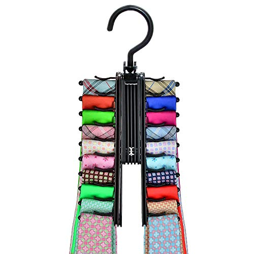 Tie Rack Hook Hanger Hanging Holder Organizing Wardrobe Closet Car Camp Rustic Farmhouse Heavy Duty Adjustable Removable Swing Outdoor Indoor Decorative Suit Men Scarf, Office Necktie Black 1 Pack
