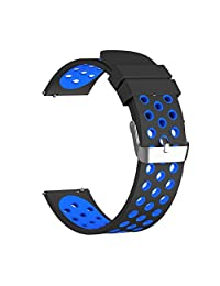 Rykimte Universal Smart Watch Band Soft Silicone Sport Wristband Wrist Bracelet Replacement Strap For Pebble Time Steel / MOTO 360 2nd Gen Watch / Samsung Gear S3 Frontier / Classic (Black Blue 22mm )