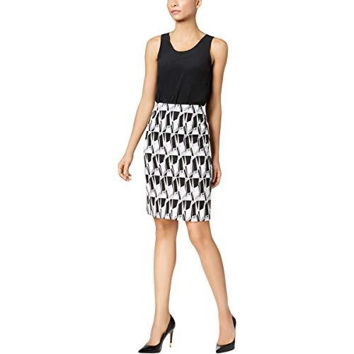 Kasper Womens Jacquard Colorblock Pencil Skirt Black 8