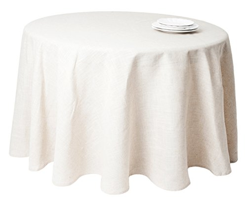 SARO LIFESTYLE 731 Toscana Tablecloths, 132-Inch, Round, Natural by SARO LIFESTYLE (Image #1)