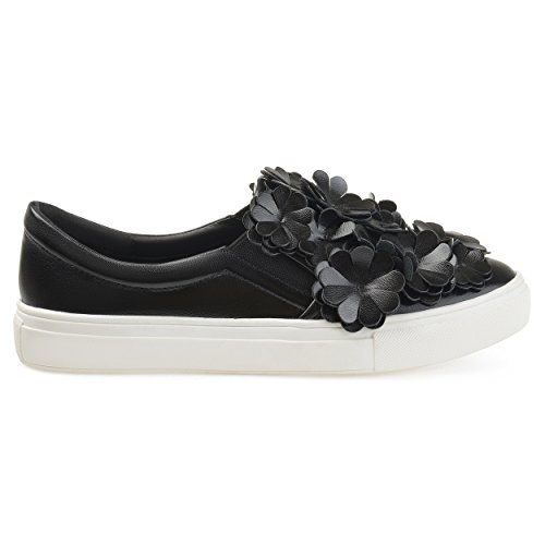 Brinley Co. Womens Melor Faux Leather Cascading 3D Flowers Slip-on Sneakers Black, 12 Regular US