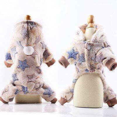 FidgetGear Autumn Winter Dog Hoodie Sweater Warm Pet Outfits Clothes L2I4 Beige XS -