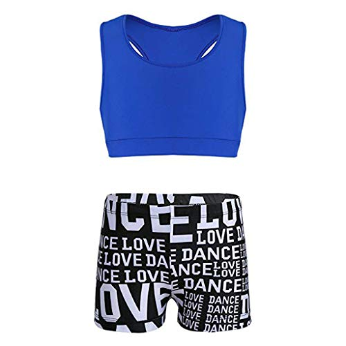 (UCQueen Girls' Kids Dance Sport Outfits Racer Back Top + Shorts 2 Piece Active Set Blue)