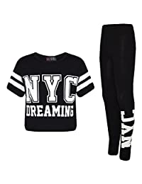 Girls Tops Kids Designer NYC Dreaming Trendy Crop & Fashion Legging Set 7-13 yrs