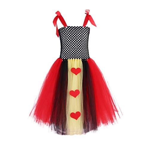 (Fiaya Halloween Costume Toddler Kids Baby Girls Queen King Heart Print Tutu Dress Party Costume | 18M-6T (Black,)