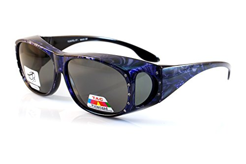 FBL Large Bling Polarized Fit Over Glasses Sunglasses with Side View P012 (Purple -