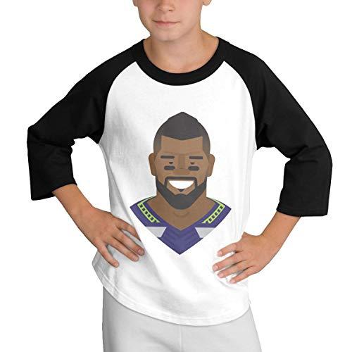 Teens Baseball Jersey Russell-Wilson-Art 3/4 Sleeve Raglan Baseball T-Shirt Black