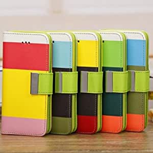 Contrast Three Colors Wallet PU Leather Case For iPhone 5C --- Color:Green+Dark green+Orange