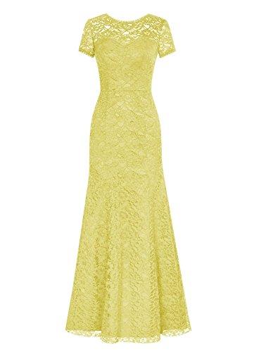 Spitzen Meerjungfrau Mother the of Rot Sleeves Yellow Kleides Kurz Kleid Fanciest Bride Women' 5ABzq6