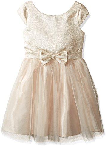 (ZUNIE Girls' Big Brocade Mesh Ballerina Dress with Bow, Ivory, 7)