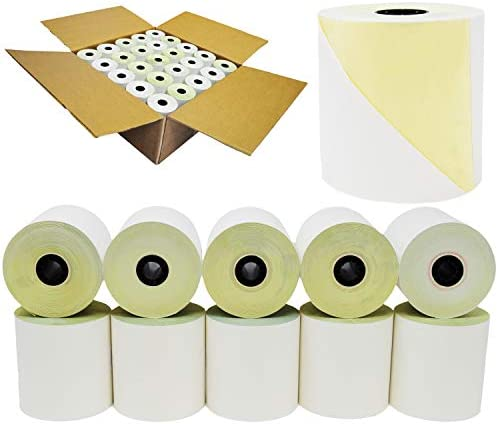 BuyRegisterRolls - 2 Ply Carbonless Rolls 3 X 95 Feet Carbonless White/Canary, 50 Kitchen Printer Paper Rolls Requires Ink Ribbon