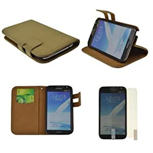 Quaroth Beige Premium Self-stand Pouch Magnetic Leather Repetto Carrying Case for Samsung Galaxy Note 2+ Clear Screen...