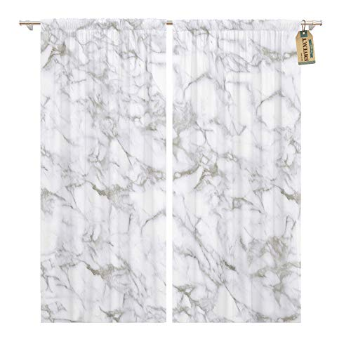 Emvency Window Curtains 2 Panels Rod Pocket Drapes Satin Polyester Blend Beige Carrara Marble Calacatta White Stone Tiled Brown Digital Living Bedroom Drapes Set 104 x 84 Inches