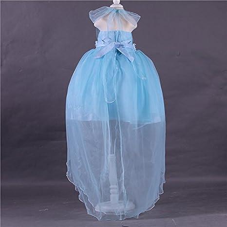 6eae7d1e358d1 Bigood Robe de Princesse Fille Tulle Soirée Cérémonie Mariage Epaule Nue  Mode Bleu Bust 78cm  Amazon.fr  Vêtements et accessoires