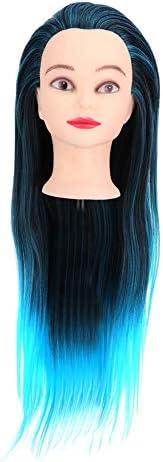 頭編み、深い青の混合色理髪練習スタイリング編組トレーニング髪のあるマネキンヘッド