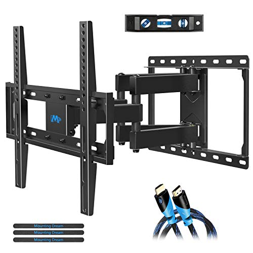 (Mounting Dream TV Wall Mounts TV Bracket for Most 32-55 Inch Flat Screen TV/ Mount Bracket, Full Motion TV Wall Mount with Swivel Articulating Dual Arms, Max VESA 400x400mm, 99 LBS Loading MD2380)