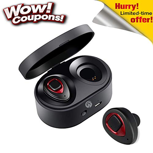 Wireless Earbuds Bluetooth Headphones with Mic in-Ear Noise Cancelling Earphone HD Stereo Sweatproof Headsets for iPhone Samsung and Smartphones from WOWOGO(K5S-red)