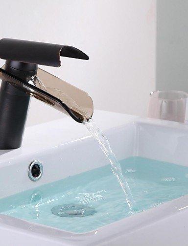 Antike Öl eingerieben Bronze Glas WasserfaÖl Glasauslauf Ein Loch Einhand Waschbecken Wasserhahn