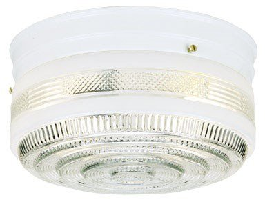- Westinghouse 6623800 Two-Light Flush-Mount Interior Ceiling Fixture, White Finish with White and Clear Glass