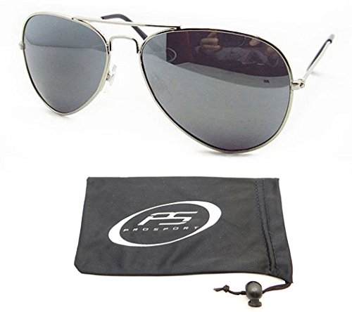Clear Silver Mirror Lens (Silver Aviator Polarized Sunglasses with Crisp and Clear Silver Mirror Lenses for Men and Women. Free Microfiber Cleaning Case Included. Fits Medium Head Sizes.)