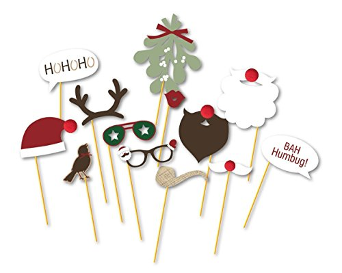 Mistle Toe Hat (PAPER JAZZ 13pcs Christmas Photo Booth Props Kit on a Stick for Party Supplies with Mistletoe Glasses Moustache Deer Horn Santa Hat Red)