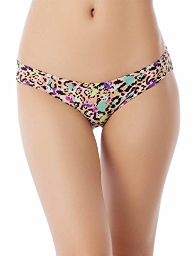 iB-iP Women's Cotton Layered Leopard See Through Lace Back Low Rise Bikini Panty, Size: S, (Low Back Animal Print)
