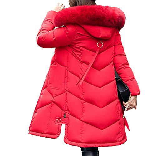 HANMAX Doudoune Femme Mi-Longue Hiver avec Capuche Fourrure Manteau de Coton Chaude Grande Taille Rouge