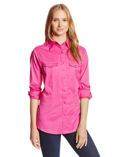 Wrangler Women's Western Yoke Two Snap Flap Pocket Shirt, Pink, XX-Large