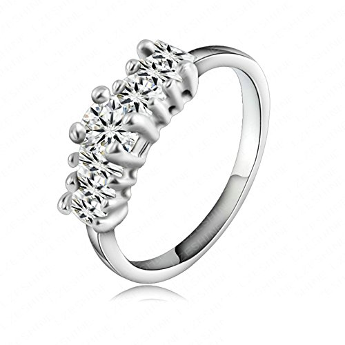 - ANAZOZ Gold Plated Cubic Zirconia Engagement Promise Rings for Girls Women Size 10