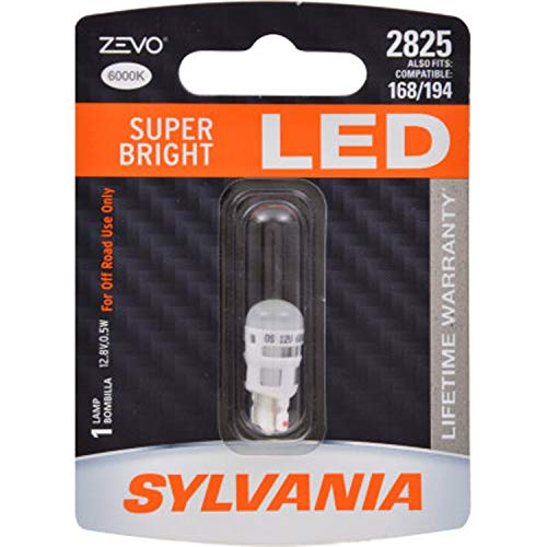 SYLVANIA - 2825 T10 W5W ZEVO LED White Bulb - Bright LED Bulb, Ideal for Interior Lighting - Map, Domr, Trunk, Cargo and License Plate (Contains 1 Bulb)