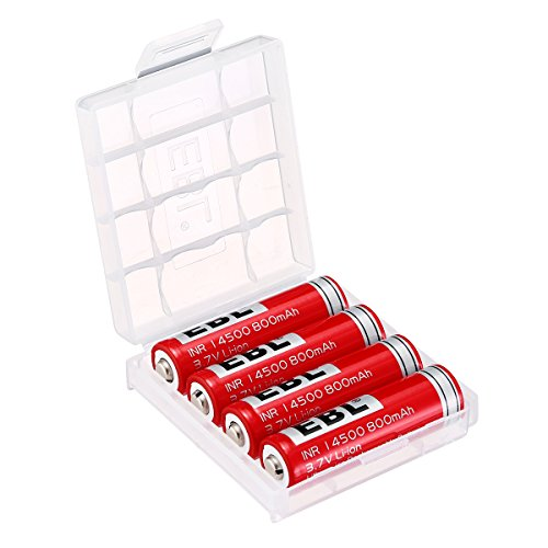 (EBL Pack of 4 3.7V 800mAh 14500 Li-ion Rechargeable Battery with Storage Battery Case)