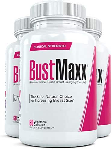 Bustmaxx - All Natural Breast Enhancement and Enlargement Pills (3 Bottles) | Breast Augmentation Supplement for Larger, Fuller Breasts | with Saw Palmetto, Fenugreek and Dong Quai, 180 Count …