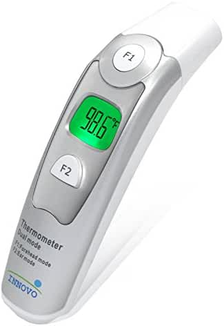 Innovo Medical Forehead and Ear Thermometer - Improved Accuracy with Updated In-House Clinical Data and Proprietary Software Upgrade - CE and FDA Approved