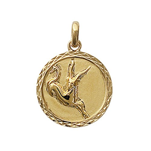 ISADY - Lucida Gold Capricorne - Pendentif - Plaqué Or 750/000 (18 carats) - Zodiaque - Horoscope - Gravure Offerte - Chaîne incluse - Longueur 45 cm