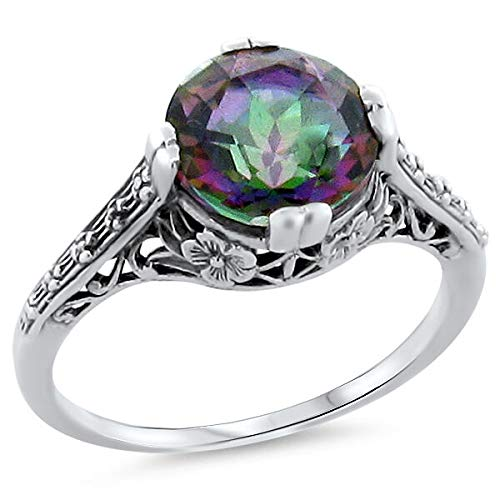 Hydro Mystic Quartz .925 Sterling Silver Antique Style Filigree Ring Size 9 KN-2772