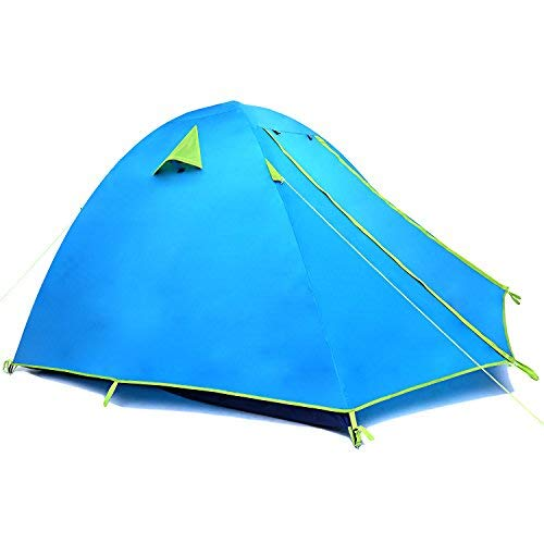Weanas Professional Backpacking Tent 2 3 4 Person 3 Season Weatherproof Double Layer Large Space Aluminum Rod for Outdoor Family Camping Hunting Hiking Adventure Travel (Azure, 2-3 Person)