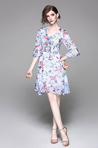 A Casual Dresses Scoop line Short Women`s Summer Neck Dress cotyledon Sleeve Short fw86qq