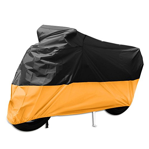 Tokept All-Weather Indoor Outdoor Motorcycle Cover-Heavy Duty Extra Large Black and Orange for 116 Inch Motorcycles Like Honda, Yamaha, Suzuki, Harley. Keeps Your Bike Dry and Protected Year Round by Tokept