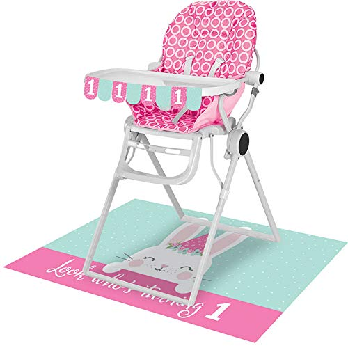 Creative Converting Party Supplies, Bunny Party 1St Birthday High Chair Kit, Kit, Multicolor, 26