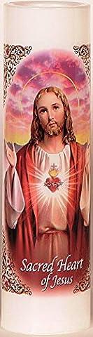 Sacred Heart of Jesus   Sagrado Corazon De Jesus   LED Flameless Prayer Candle with Automatic Timer   Valadora de Oracion sin Llama   English & Spanish   Religious Mothers Day Gift (Her Healing Co)