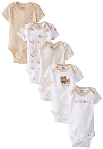Gerber Baby 5-Pack Short-Sleeve Onesies Bodysuit, Brown Bear Friends, 0-3 Months