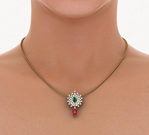 Or jaune 18K 0.8CT TW Round-cut-diamond (IJ   SI) et émeraudes et rubis Pendentif