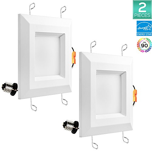2-Pack Luxrite 5/6 Inch LED Square Downlight, 15W (120W Equivalent), 3000K Soft White, 1100 Lumens, ENERGY STAR, 120° Beam Angle, Dimmable, Recessed Light Kit, E26 Base