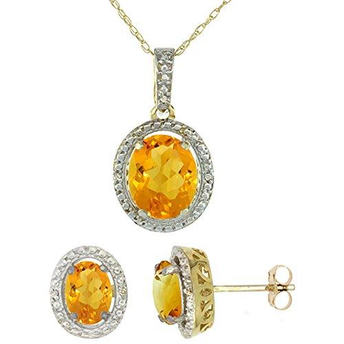 Or jaune 9Ct naturel ovale Citrine Boucles d'oreilles et pendentif Set Accents de diamant